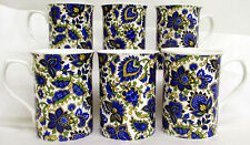 Paisley Mugs Set of 6 Fine Bone China Blue Paisley Mugs Hand Decorated in UK