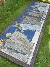 More details for antique large church painting on canvas from the stations of the cross 1900s 10s
