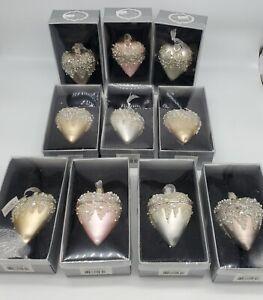 MIDWEST CBK GANZ *Lot of 10* Trinket Box Glass Ornaments, Hearts w/ Rhinestones