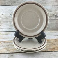 "Vintage ROYAL DOULTON GAIETY 6"" Saucers Plates Brown Trim LS1014 England Set 4"