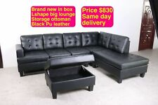 BRAND NEW DIAMOND LOUNGE 6 TO 7 SEATER CAN DELIVER BLACK PU WITH STORAGE OTTOMAN