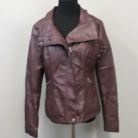 RD Style stitch fix Brown zip up Faux Leather Moto Jacket women's size Medium