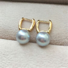 Genuine 9-10 mm Round South Sea Gray Pearl Earrings 18 K yellow gold