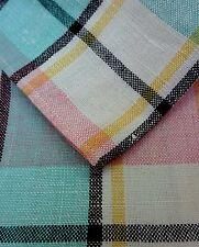Vintage Mantel Paño de tela de cuadros escoceses a rayas de mediados de siglo Miami Rosa Y Turquesa