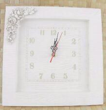 Orologio Da Parete Legno Chiaro Bianco Con Rose Shabby Arredamento Casa dfh