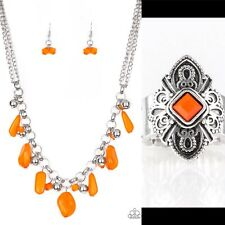 Paparazzi Orange And Silver Jewelry Set. Necklace, Earrings, Ring