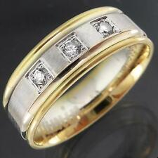Turkish 2-Tone Solid 14k Yellow White GOLD 3 CUBIC ZIRCONIA CZ BAND / RING Sz M