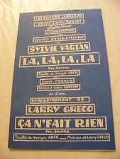 Partition La la la la Sylvie Vartan Ca ne fait rien Larry Greco 1964