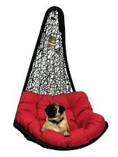 Black Rattan Hanging Swing Egg Chair & Red cushion Garden/Patio/Inside *No Stand