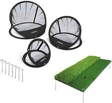 Stinger Sports Golf Chipping Net Bundle- Windproof Stake Down Mat for Chip Shots