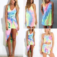 Womens Tie Dye Sleeveless Mini Dress Co-ord Set Summer Beach Casual Sundresses