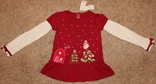 NEW GYMBOREE COZY OWL MAROON IVORY COTTON TOP LONG SLEEVE TEE TUNIC STUDS BOWS 7
