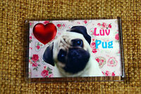 Pug Gift Dog Fridge Magnet 77 x 51 mm Birthday Gift Xmas Mothers Day Gift