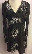 NWOT $315 See By Chloé Black Floral And Polka-dot Print Crepe Dress US 8 FR 40