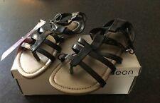 Girls Black Gladiator Sandals Size 12 New