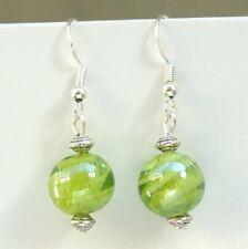 Green Lampwork Glass Earrings with Sterling Silver Hooks LB113