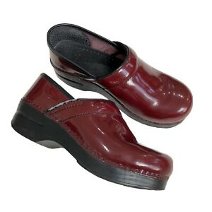 DANSKO Burgundy Red Patent Leather Clogs Shoes Women's Size 37