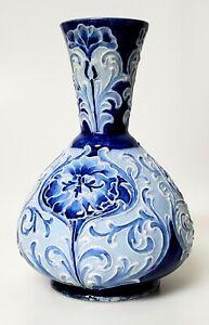 JAMES MACINTYRE FLORIAN WARE BY WILLIAM MOORCROFT BLUE POTTERY VASE ~ RARE!