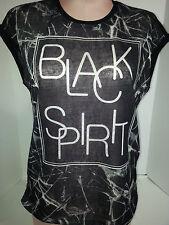 RESERVED Womens Black Spirit Short Sleeve Crewneck Pullover Blouse Shirt Medium