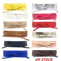 Women Soft Faux Leather Wide Self Tie Wrap Around Obi Waist Band Cinch Boho Belt