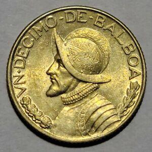 Rare 1930 Panama 1/10 Balboa KM# 10.1 About Uncirculated No Reserve!