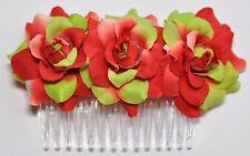 "4"" Red & Green Rose Roses Silk Flower HAIR COMB Wedding Bridesmaid Bridal"