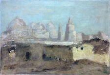 Tunisie grande Mosquée des Sabres à Kairouan impressionniste Flamand signée T.D