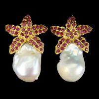 Heated Round Red Ruby Baroque Pearl 14K Gold Plate 925 Sterling Silver Earrings