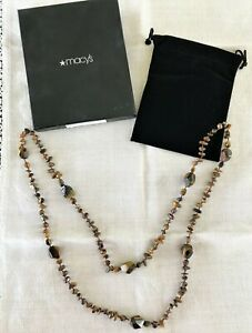 Handcrafted Necklace Poiished Stone Shades of Brown