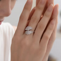 Charm 925 Silver Double Angel Wings White Full AA Zricon Wedding Party Ring 6-10