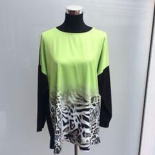 VIA APPIA DUE Long-Shirt T-Shirt Bluse Gr. 42 langarm wie NEU! leopard apfelgrün