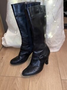 CLARKS black leather BUCKLE DETAIL LONG BOOTS size 4