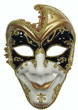 Gold Black White Mask Court Jester Venetian Masquerade Ball Fancy Dress