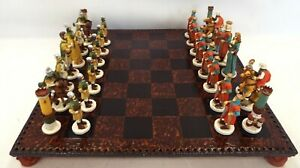 Chess Set With Medieval Style Playing Pieces And Wood Effect Board - B66