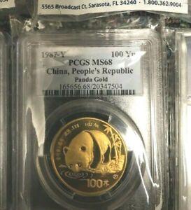 1987 Y GOLD PANDA 1 Oz. PCGS MS68 100Y MS-68 CHINA 100Yn