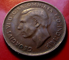 Error Clashed Die 1942 Australia Penny, Heavy Die Clashing, with Holder includ.