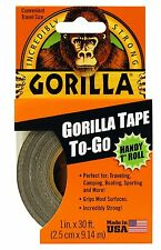 Gorilla Glue 6100102 1in x 30ft Gorilla Tape To-Go, Handy Roll, Duct Tape, Black