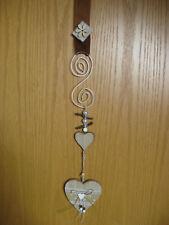 Herz Hänger Fensterdeko Türdeko Perlen Holzherz braun weiss Girlande 12 cm /80cm