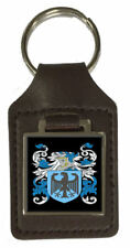 Haslett Heraldry Surname Coat Of Arms Brown Leather Keyring Engraved