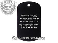 Dog Tag Military ID K9 Customized Laser Engraved BLK Bible Psalm 144:1