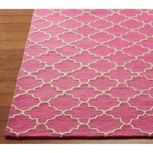 Addison Scroll Pink Girl 5'x8' Contemporary Handmade Tufted Woolen Rugs & Carpet