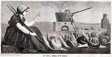 LA CUCINA: Lumache in fila per entrare in Pentola. Capolavoro.Stampa Antica.1860