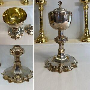 19th Century Gothic Revival Gilded Ciborium Solid Silver