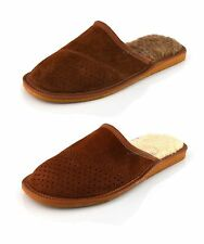 New White Brown Wool Mens Slippers Shoes Sheepskin UK size 7 8 9 10 11 12 13 14