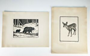 Two Original Olive Fell Hand Signed Etchings of Deer and Bears Western Art