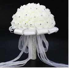 Bridal Wedding Hand Flower Foam Simulation Flowers White Roses Bouquet Petal Hot