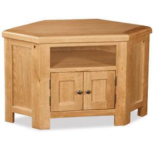Oakvale Corner TV Unit / Solid Wood Living Room 2 Drawer Media Stand / Storage