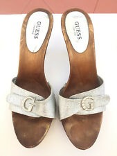 673002ad94 Guess Logo women's Silver Glitter Wooden Heels Sandals Sz 9.5 Made in Italy