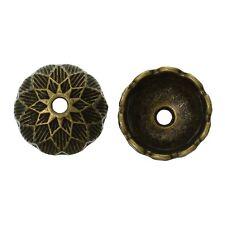 10x Perlenkappen Perlkappen Endkappen filigran Blumen für 14 mm Perlen Bronze