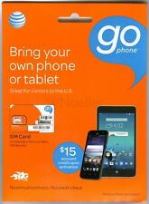 New At&T GoPhone Sim Kit • triple cut Mini Micro Nano •Prepaid No Contract Plans